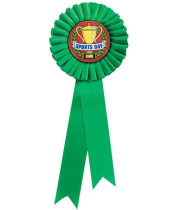 "Single Tier Green Rosette With Sports Day Centre Disc 30cm (11.75"")"