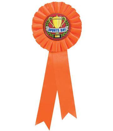 "Single Tier Orange Rosette With Sports Day Centre Disc 30cm (11.75"")"