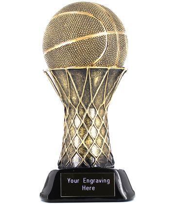 """Basketball & Hoop Trophy Gold/Black 19cm (7.5"""")"""
