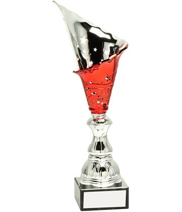 "Silver & Red Spiral Trophy Cup 34.5cm (13.5"")"