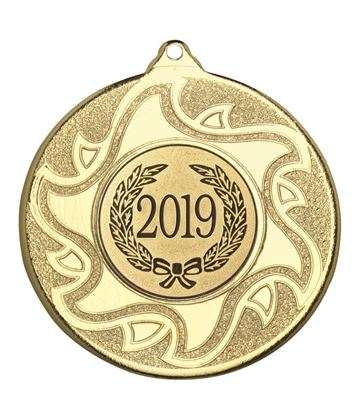 """2019 Gold Sunburst Star Patterned Medal 50mm (2"""")"""