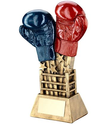 """Shooting Stars Boxing Glove Trophy Red & Blue 16.5cm (6.5"""")"""
