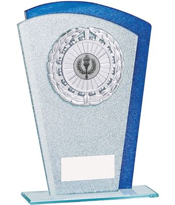 "Glitter Laurel Wreath Glass Plaque Award Silver & Blue 17.5cm (7"")"