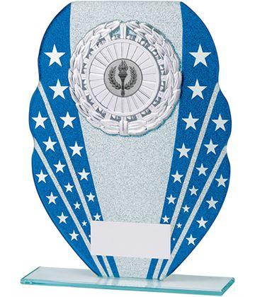 "Glitter Star Burst Glass Award Silver & Blue 18.5cm (7.25"")"