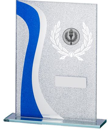 "Wave Glitter Glass Plaque Award Blue & Silver 16.5cm (6.75"")"