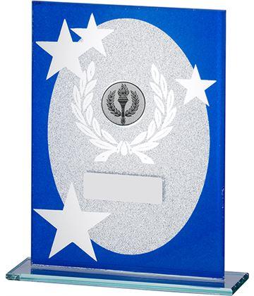 "Oval Star Glitter Glass Plaque Award Blue & Silver 16.5cm (6.5"")"