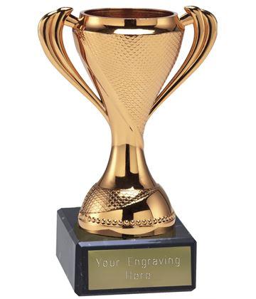 "Trophy Cup On Black Marble Base Bronze 12cm (4.75"")"
