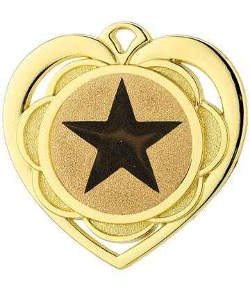 """Multi Award Heart Medal Gold 50mm (2"""")"""