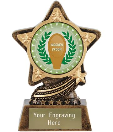 "Wooden Spoon Trophy by Infinity Stars 10cm (4"")"