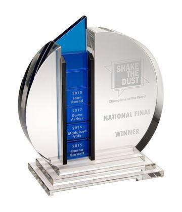 "Clear & Blue Optical Crystal Round Glass Award 19.5cm (7.75"")"