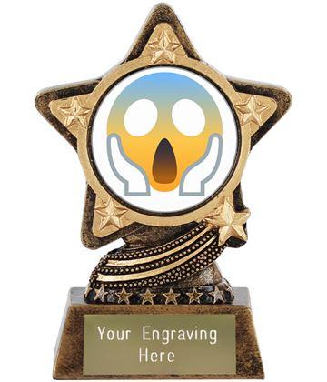 "Face Screaming In Fear Emoji Trophy by Infinity Stars 10cm (4"")"