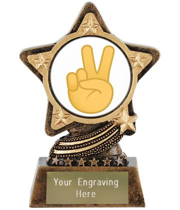 "Victory Hand Emoji Trophy by Infinity Stars 10cm (4"")"