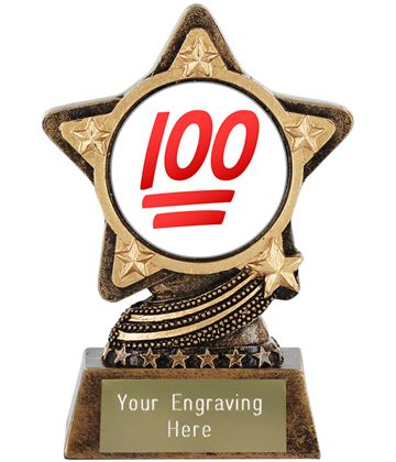 "Hundred Points Emoji Trophy by Infinity Stars 10cm (4"")"