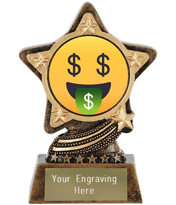 """Money Mouth Face Emoji Trophy by Infinity Stars 10cm (4"""")"""