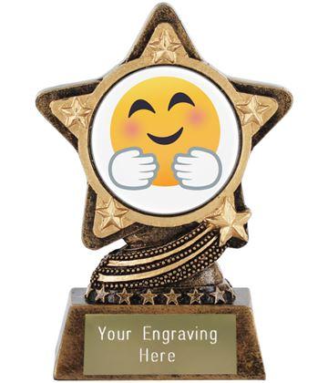 "Hugging Face Emoji Trophy by Infinity Stars 10cm (4"")"