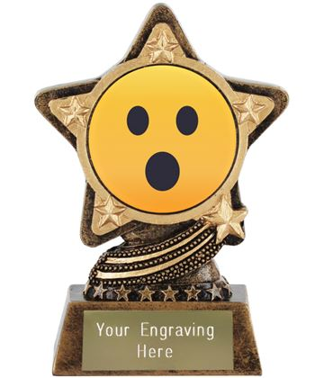 """Face With Open Mouth Emoji Trophy by Infinity Stars 10cm (4"""")"""