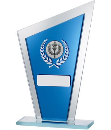 "Blue Mirrored Glass Pointed Plaque Award 16.5cm (6.5"")"
