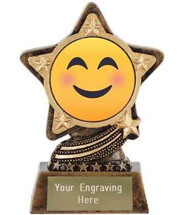 """Smiling Face With Smiling Eyes Emoji Trophy by Infinity Stars 10cm (4"""")"""