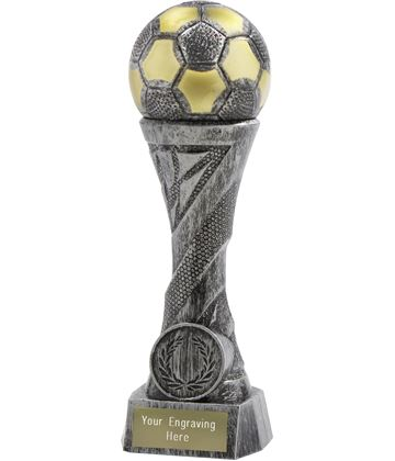 "Football Trophy Heavyweight Sculpture Antique Silver 19cm (7.5"")"