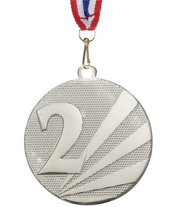 "2nd Place Medal Silver With Medal Ribbon 50mm (2"")"