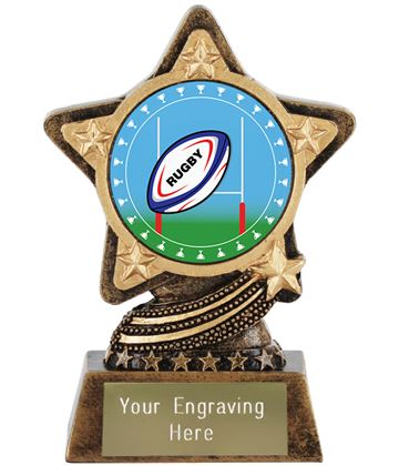 "Rugby Trophy Centre by Infinity Stars 10cm (4"")"