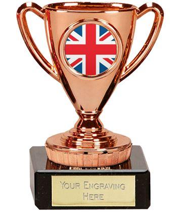 """Union Jack Flag Trophy Mini Cup Bronze 10cm (4"""")"""