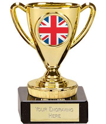 """Union Jack Flag Trophy Mini Cup Gold 10cm (4"""")"""
