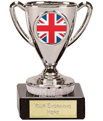 """Union Jack Flag Trophy Mini Cup Silver 10cm (4"""")"""