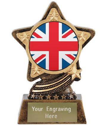 "Union Jack Flag Trophy by Infinity Stars 10cm (4"")"