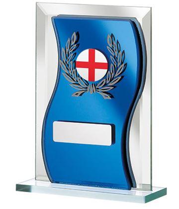 "English Flag Blue Mirrored Glass Plaque Award 12.5cm (5"")"