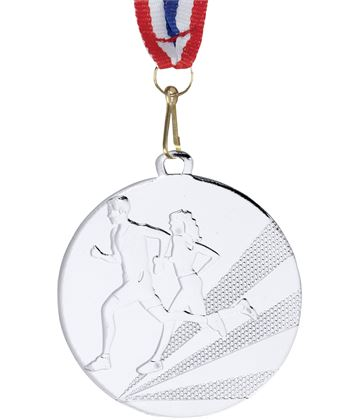 "Running Medal Silver With Medal Ribbon 50mm (2"")"
