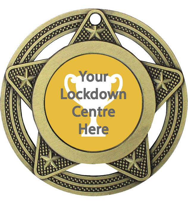 """Lockdown Medal by Infinity Stars Antique Gold 50mm (2"""")"""