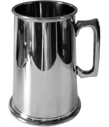 "High Polished Plain 4pt Sheffield Pewter Tankard 21.5cm (8.5"")"