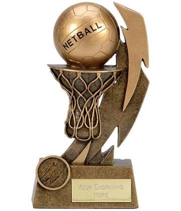 "Gold Flash Net & Ball Netball Trophy 15cm (6"")"