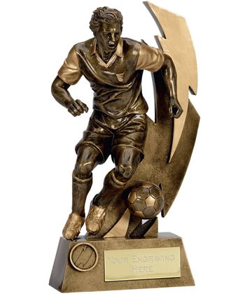 "Gold Flash Action Footballer Trophy 18.5cm (7.25"")"