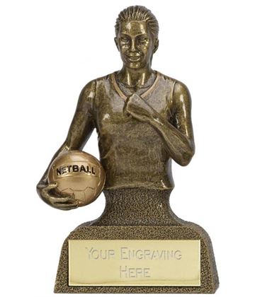 "Antique Gold Resin Podium Netball Trophy 10cm (4"")"