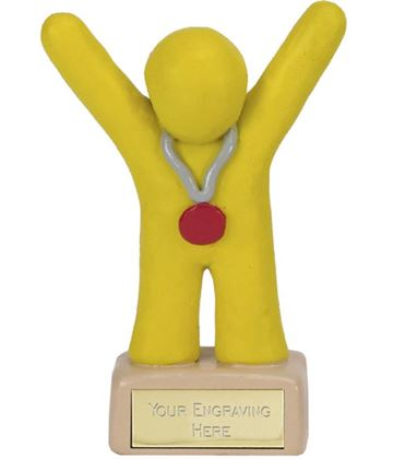 """Yellow Clay 3rd Place Medal Winner Trophy 10cm (4"""")"""