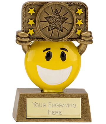 "Gold & Yellow Resin Happy Face Multi Star Trophy 9cm (3.5"")"
