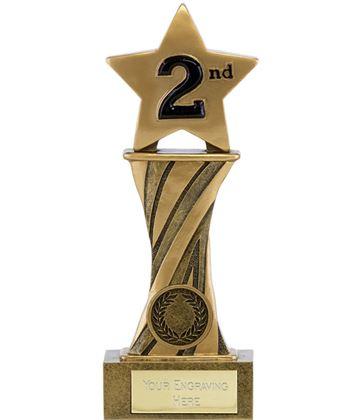 "Showcase Antique Gold Resin Star Second Award 18cm (7"")"