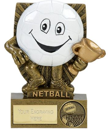 "Novelty Happy Face Netball Character Shield Award 10.5cm (4.25"")"