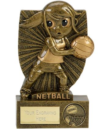 "Novelty Netball Ninja Shield Award Antique Gold 10.5cm (4.25"")"
