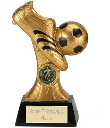 "Gold & Black Boot & Ball Striker Trophy 20cm (8"")"
