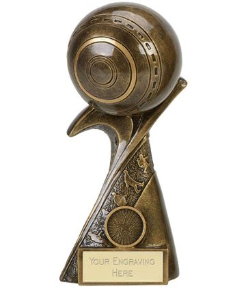 """Antique Gold Lawn Bowls Trophy With Wrap Around Base 15cm (6"""")"""