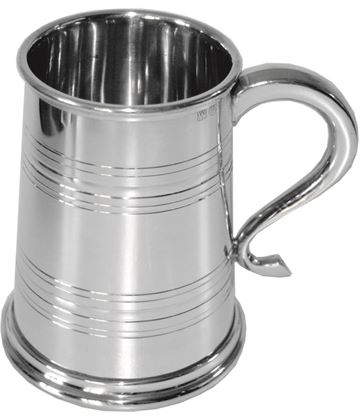 "1pt Lined Heeley Sheffield Pewter Tankard 12.5cm (5"")"