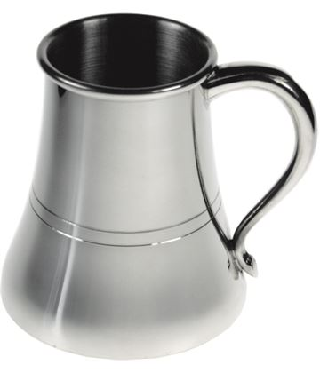 "Curved Polished 1pt Sheffield Pewter Tankard 12.5cm (5"")"