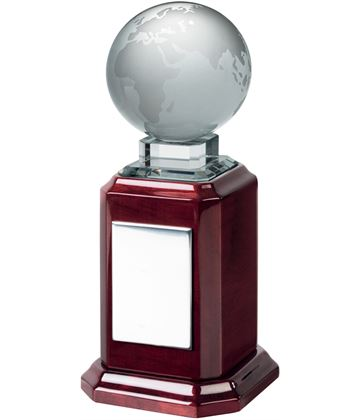 "Optical Crystal Globe Award on Piano Wood Base 20.5cm (8"")"