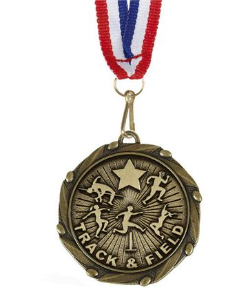 "Track & Field Medal Gold With Red, White & Blue Ribbon 45mm (1.75"")"
