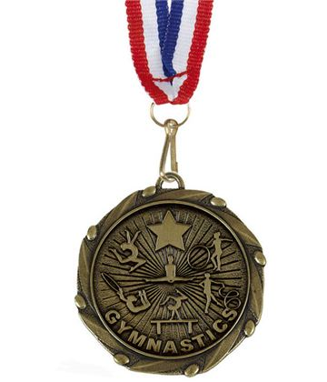 """Female Gymnastics Gold Medal with Red, White & Blue Ribbon 45mm (1.75"""")"""