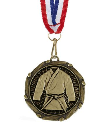 """Martial Arts Gold Medal with Red, White & Blue Ribbon 45mm (1.75"""")"""