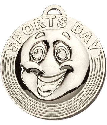 """Sports Day Target Medal Silver 50mm (2"""")"""